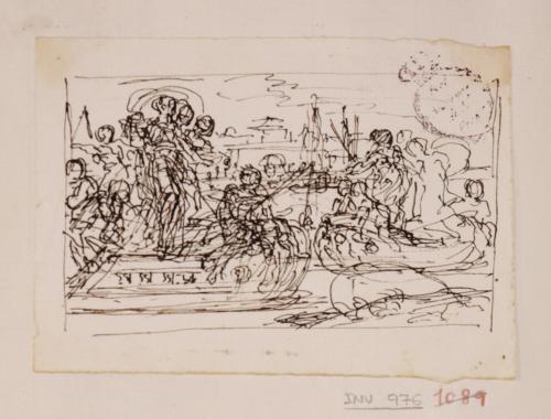 Estudio del encuentro de dos barcazas con figuras femeninas a bordo