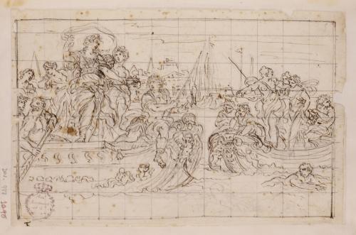 Encuentro de dos barcazas con figuras femeninas en pie, remeros y una figura masculina pescando
