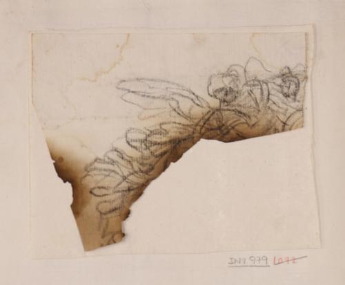 Fragmento de apunte de ángel volando