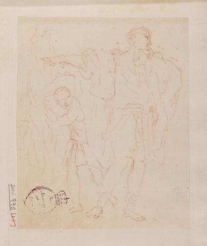 Apunte de figura masculina en pie; detrás, figura de muchacho
