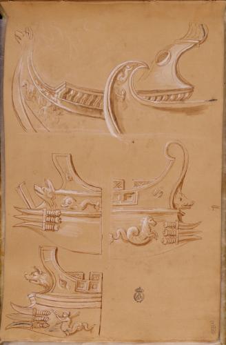 Estudios de proas de embarcaciones romanas