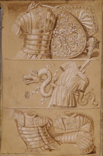 Estudio de armaduras (loricata segmentata), escudos ovalados (cetratus) y casco romanos