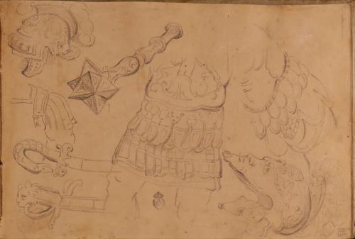 Estudios de toracato, casco, maza y empuñaduras de espadas antiguas