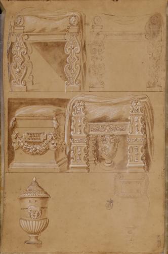 Estudio de mesas, ara, urna funeraria romana y crátera de volutas neoática
