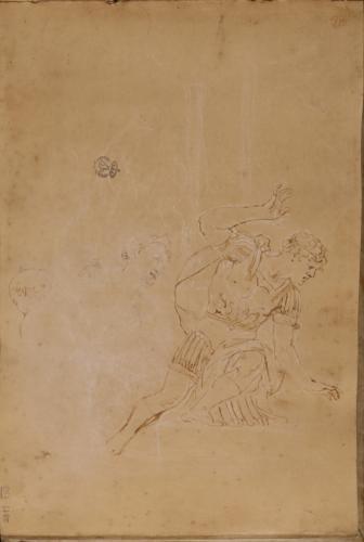 Apunte de general romano semiarrodillado y dos cabezas femeninas