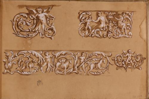 Estudios de motivos pictóricos (grutescos) y relieves decorativos romanos