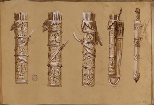 Estudios de cuatro carcaj y un gladius