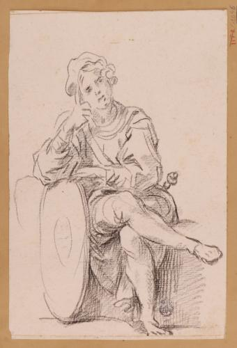 Estudio de joven soldado meditabundo apoyado en un escudo ovalado