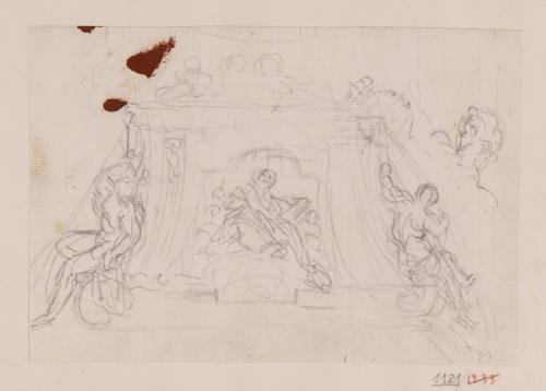 Apunte para una base de altar o tumba decorada con figuras