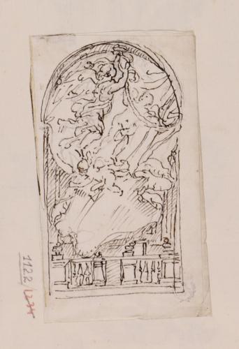 Estudio de ángeles volando y balaustrada en la parte inferior