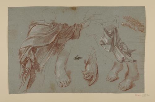 Estudio de San Felipe Benizzi, ropajes, pies y manos