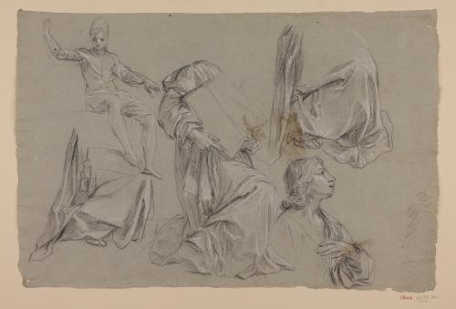 Estudio de figura masculina sentada, busto de joven, figura arrodillada con un libro abierto y paños