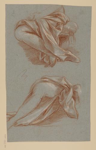 Estudio de paños sobre pierna de figura sentada
