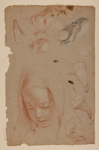 Estudios de tres cabezas femeninas, una de ellas de niña velada, esbozo de cabeza masculina, pies y paño