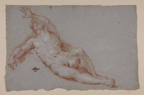 Estudio de modelo masculino desnudo recostado