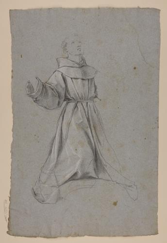 Estudio de monje arrodillado mirando hacia arriba