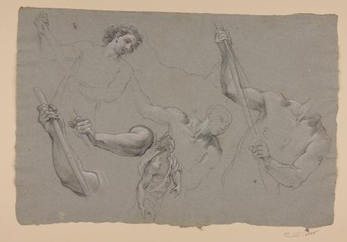 Estudios de media figura, torsos y brazos masculinos