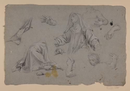 Estudios de figura de monja, torsos masculinos, paños y manos