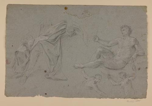 Estudio de figura masculina desnuda recostada, dos medias figuras femeninas bailando y paños de figura masculina sentada