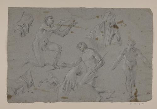 Estudio de figuras masculinas desnudas, busto femenino cubierto con un manto, media figura femenina, mano y mangas