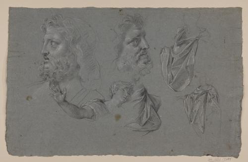 Estudio de cabeza masculina, torso juvenil y paños sobre figuras