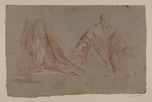 Estudio de San Andrés Corsini arrodillado y de vestimenta eclesiástica