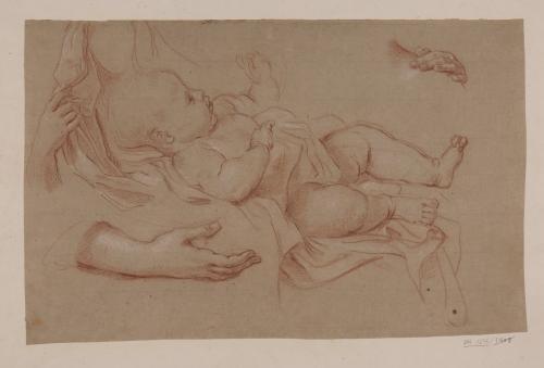 Estudio de la Virgen niña y manos para el