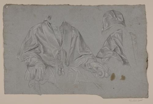 Estudios de vestimenta para el retrato del Papa Clemente XI