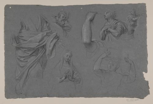 Estudio de paños sobre una figura, Virgen, brazo, figura femenina y tres ángeles