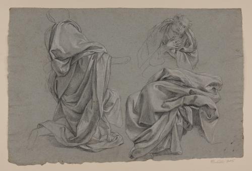Estudios de telas sobre figuras y busto de anciano en oración
