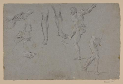 Estudio de modelo masculino desnudo de espaldas, parte inferior de otro, piernas, manos y ligero apunte de torso