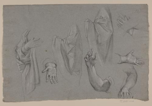 Estudio de paños, brazos y manos