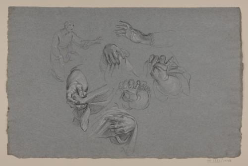 Estudio de mano sujetando un paño y apunte de figura masculina arrodillada