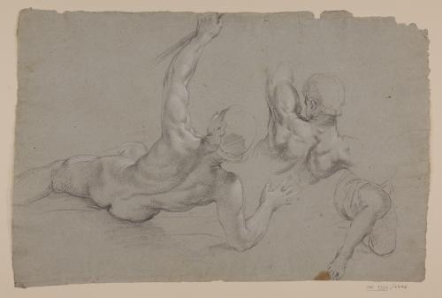 Estudio de figura desnuda tendida de espaldas y media figura arrodillada