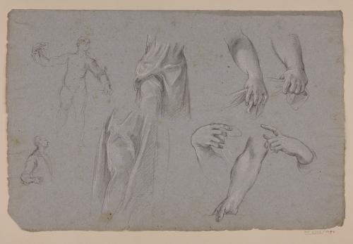 Estudio de paños, brazos, manos y ligeros apuntes de busto y modelo masculino desnudos