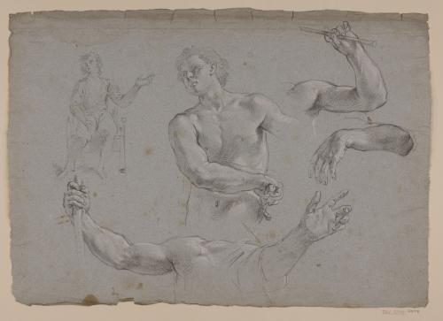 Estudio de figura desenvainando, brazo con vara, brazo y mano y ligero apunte de figura sentada
