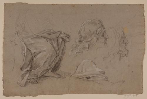 Estudio de Jesucristo sentado y variantes de cabezas.