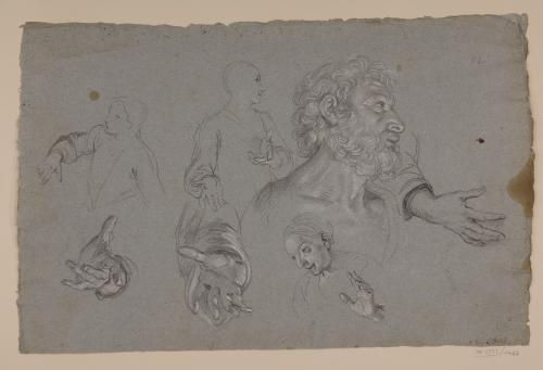 Estudio de cabeza masculina, busto femenino, manos y apuntes de otras figuras