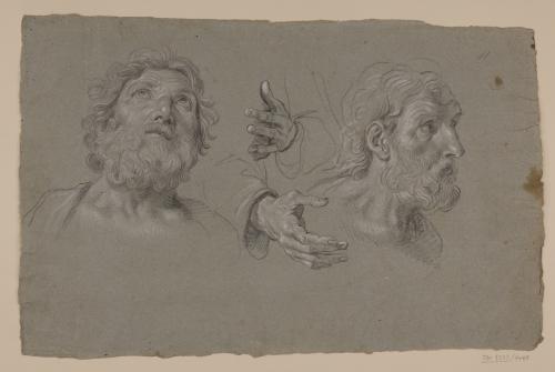 Estudio de la cabeza y manos de Simeón y la cabeza de San José
