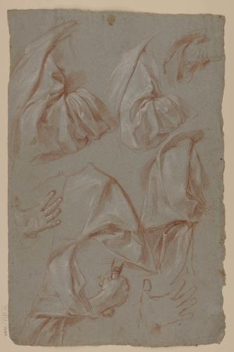 Estudios de manga de túnica y manos