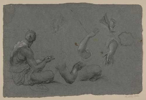 Estudio de figura masculina sentada de espaldas, brazos, piernas y paños