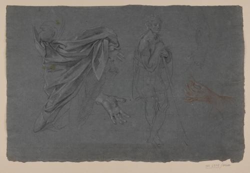 Estudio de ropaje, manos, brazo  y apunte de figura masculina