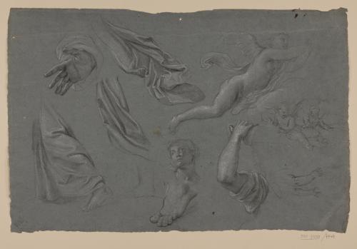 Estudios de ropajes, brazos, pie, cabeza femenina y figuras de ángeles