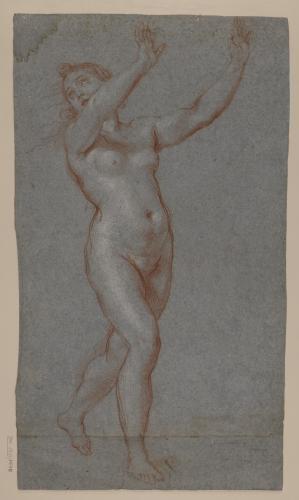 Estudio de figura femenina (Dafne) desnuda corriendo con los brazos en alto