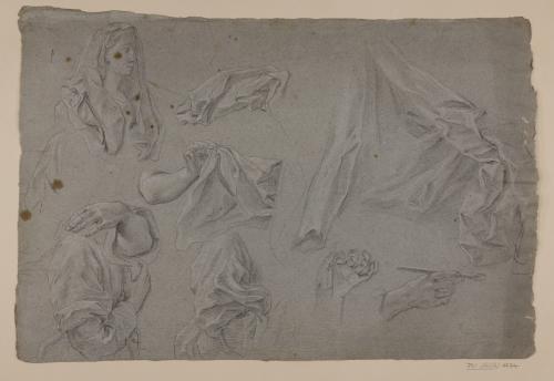 Estudio de busto femenino, ropajes y manos