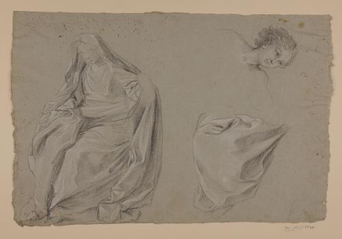 Estudio de figura femenina sentada, cabeza juvenil y ropajes