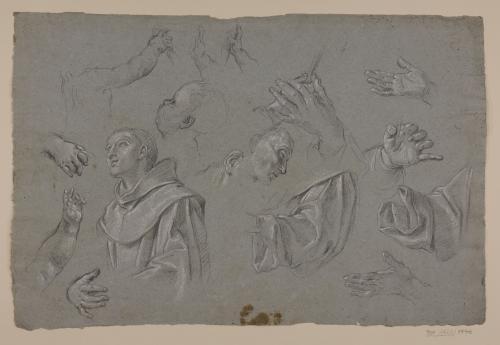Estudios varios: monje, cabezas, paños, brazos y manos