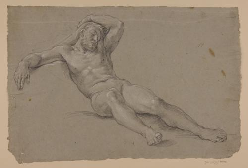 Estudio de hombre desnudo tendido durmiendo