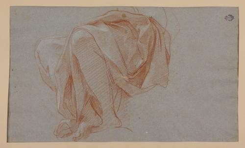 Estudios de ropaje sobre figura sentada