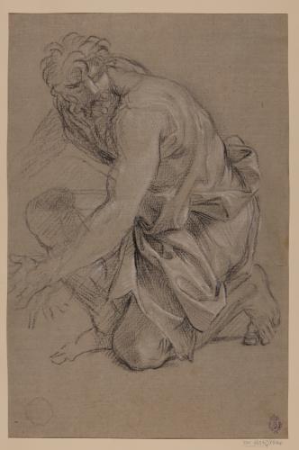 Estudio de figura masculina arrodillada